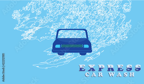 Service Car Wash Machine And Grunge Wave Isolated On Blue