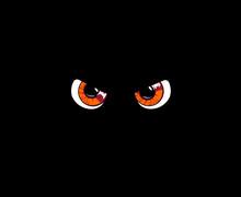 Orange Predatory Monster Eyes Isolated On Black Background. Vect
