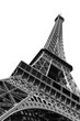 Beautiful view of the Eiffel tower seen from beneath in Paris, isolated in black and white