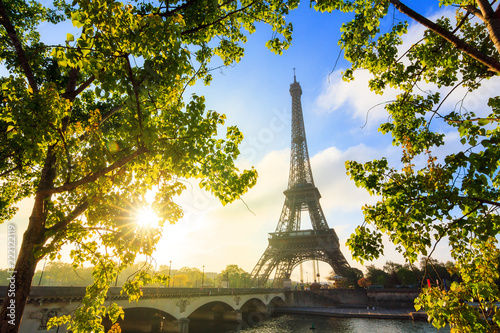 Printed kitchen splashbacks Beautiful green spring leafs at the Eiffel tower in Paris, France