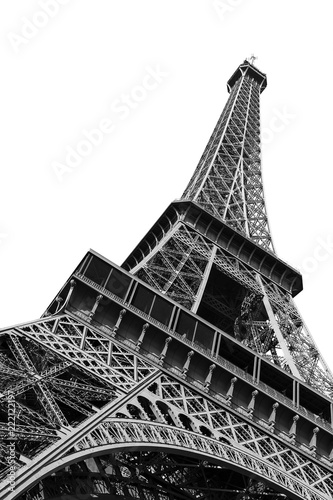 plakat Beautiful view of the Eiffel tower seen from beneath in Paris, isolated in black and white