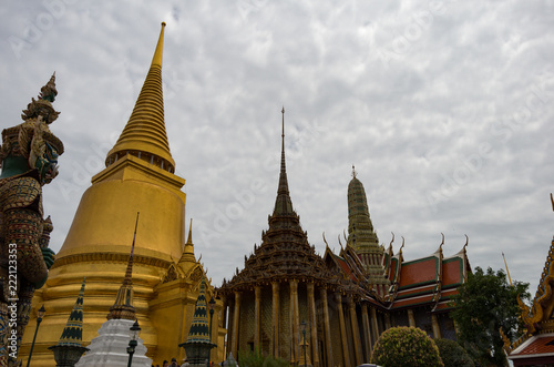 Keuken foto achterwand Bangkok Temple buildings in the Grand Palace of Bangkok, Thailand on a cloudy day