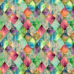 Fototapeta Malarstwo Argyle geometric watercolor seamless pattern