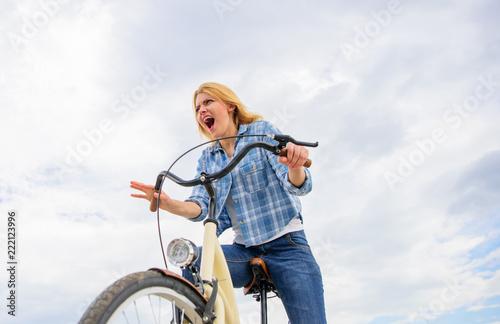 Obraz na plátně Emotional woman enjoy biking holidays