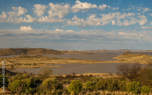 Landscape Gariep Dam in the Karoo natural region of South Africa image with copy space