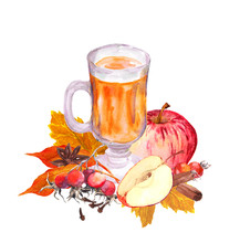Autumn Hot Drink In Glass With...