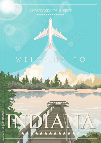 Cadres-photo bureau Turquoise Indiana state. United States of America. Postcard from Indianapolis. Travel vector