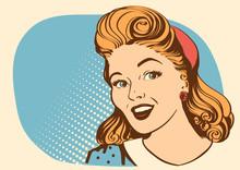 Retro Smiling Woman Portrait F...