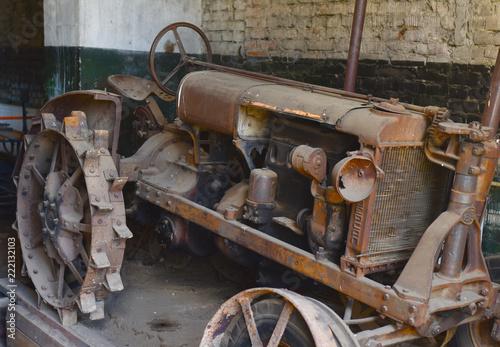 Fotografie, Obraz  old rusty tractor in the garage