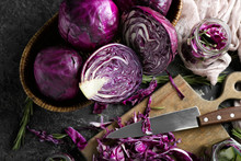 Composition With Cut Red Cabbage On Grunge Table