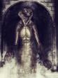 Człowiek kobra w tunelu wypełnionym dymem