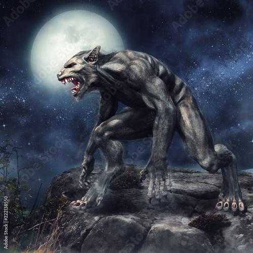 Fotografia Wilkołak stojący na klifie na tle pełni księżyca
