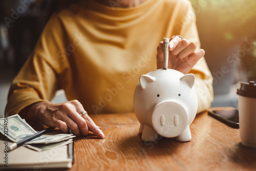 Fototapeta woman hand putting money bank note dollar into piggy for saving money wealth and financial concept. obraz