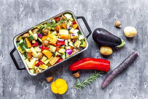 Oven vegetables, zucchini, aubergine, potato, carrot, sweet potato, champignon, onion and garlic