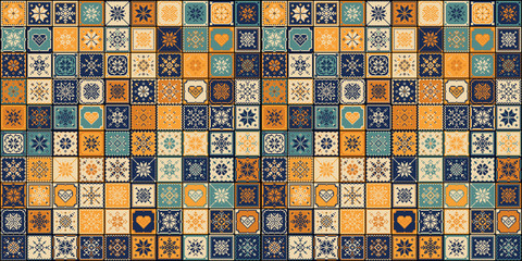 NaklejkaTiles Floor Ornament Collection. Gorgeous Seamless Patchwork Pattern from Colorful Traditional Painted Tin Glazed Ceramic Tilework Vintage Illustration. For web page template background
