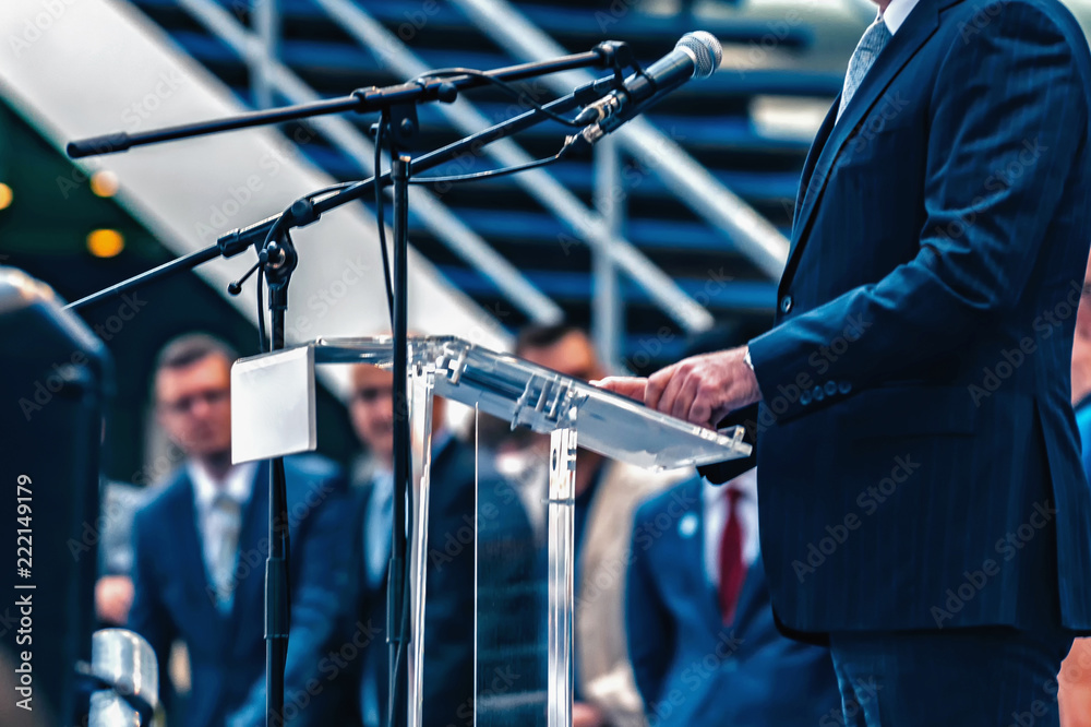 Fototapety, obrazy: Male Speaker On The Stage
