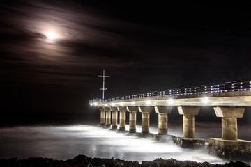 Naklejka Supermoon with pier in Port Elizabeth, South Africa