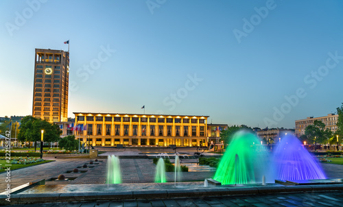 Keuken foto achterwand Europa The city hall of Le Havre with a fountain. France