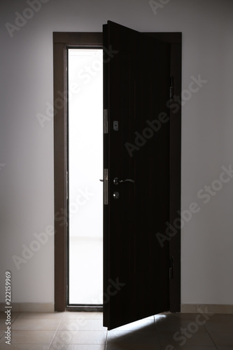 View of ajar wooden door Wallpaper Mural