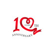 10th anniversary red ribbon heart