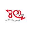 80th anniversary red ribbon heart