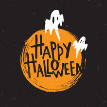 Happy Halloween. Hand Lettering Poster. Vector Illustration