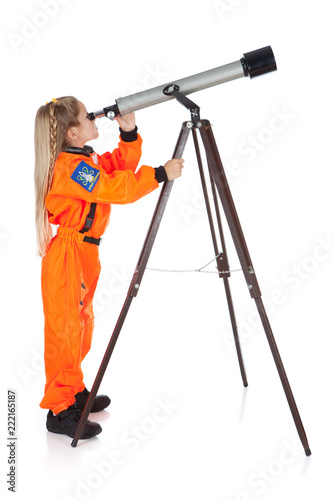 Leinwand Poster Astronaut: Future Astronomer Looking Through Telescope
