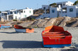 canvas print picture - Colourful fishing boats on the beach at Paternoster, small fishing village on the west coast of South Africa in the Western Cape.