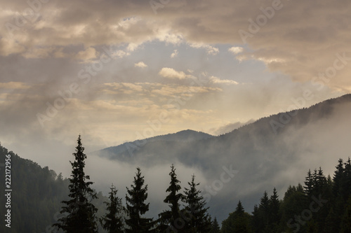 Aluminium Prints Summer mountain scenery with mist clouds, at sunset