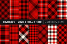 Lumberjack Tartan And Buffalo Check Plaid Vector Patterns. Maroon, Red, Black And White Rustic Christmas Backgrounds. Hipster Flannel Shirt Fabric Textures. Pattern Tile Swatches Included.