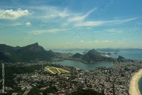 Aerial view of Rio de Janeiro - Famous places in Rio (Morro dois Irmãos - Vidigal - Rio de Janeiro)