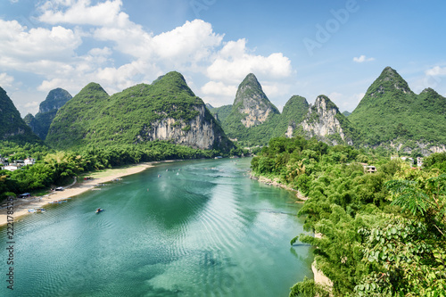 Canvas-taulu Amazing summer sunny landscape at Yangshuo County, Guilin, China