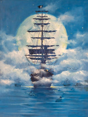 Fototapeta Morze Sailing pirate Ghost ship, flying Dutchman in the open sea on moonlit night. Painting. Painting with oil paints