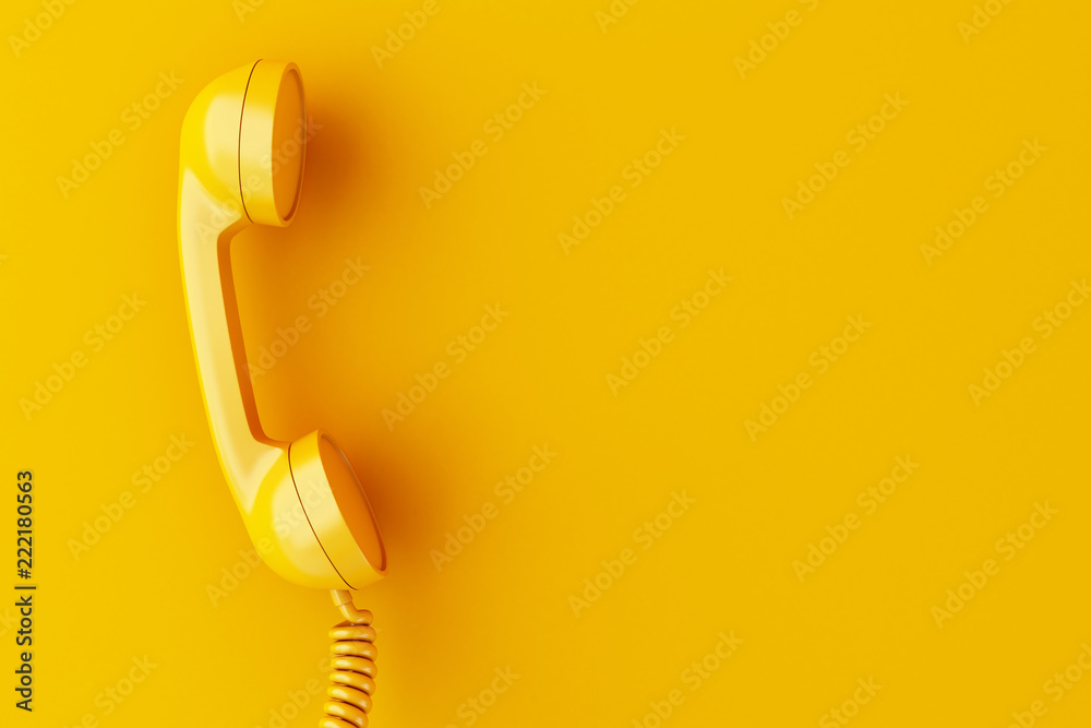 Fototapety, obrazy: 3d phone reciever on yellow background.