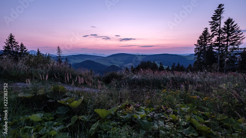Deurstickers Zwart beautiful sunset in the mountains of Tatra, slovakia