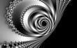 Fraktal schwarz weiße Spirale im metallischen Look