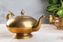 Vintage Bronze Tea Pot And Gre...