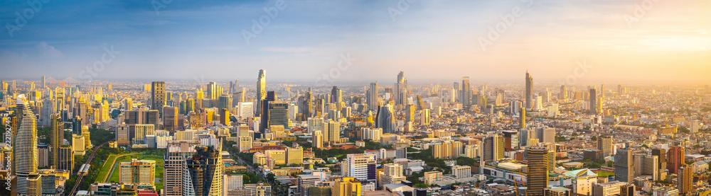 Fototapeta Beautiful Bangkok city, bird eye view on modern new buildings