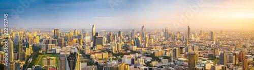 Obraz na plátně Beautiful Bangkok city, bird eye view on modern new buildings