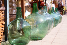 Antique Old Demijohns And Drin...