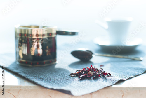 morning still-life with colored tea