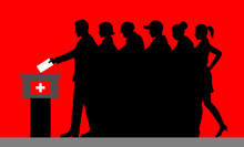 Swiss Voters Crowd Silhouette ...