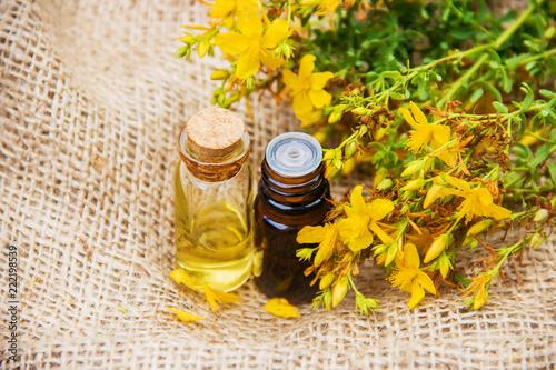 Fotografie, Obraz  St. John's wort extract. Medicinal plants.