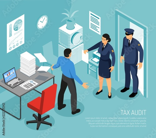 Tax Audit Isometric Composition Wallpaper Mural