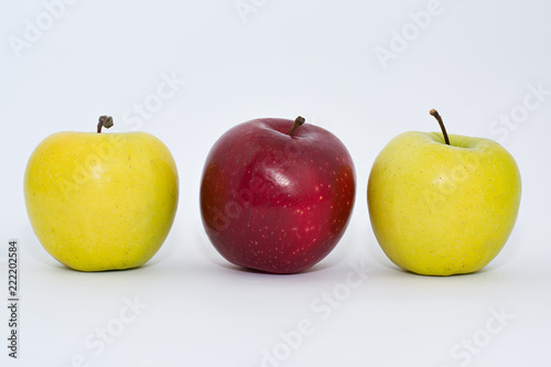 Fotografie, Obraz  Fresh red and yellow apples on a white background