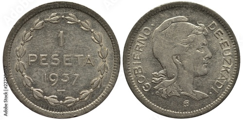 Fotografie, Obraz  Spain Spanish Basque Country coin 1 one peseta 1937, value and date within circu