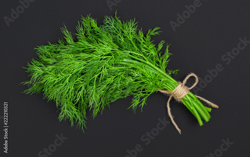 Bouquet of fresh dill bandaged with rope Fototapet