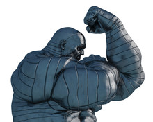 Steel Man, The Muscle Man In A White Background
