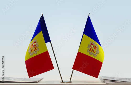 Photo Two flags of Andorra
