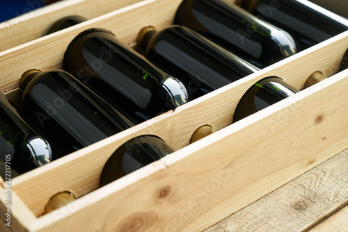 Fotografie, Obraz  Top view of a case of cabernet sauvignon wine bottles